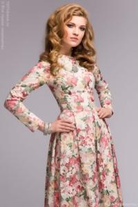 Ванильное платье макси с цветочным принтом и длинными рукавами купить в интернет-магазине