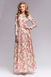 Заказать Ванильное платье макси с цветочным принтом и длинными рукавами с бесплатной доставкой по России