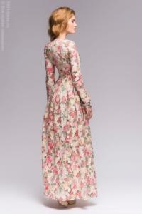 Купить Ванильное платье макси с цветочным принтом и длинными рукавами в магазине женской одежды в Воронеже