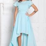 Вечернее платье ментолового цвета с асимметричной юбкой и короткими рукавами sz00050mn-1
