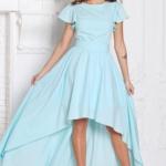 Вечернее платье ментолового цвета с асимметричной юбкой и короткими рукавами sz00050mn-2