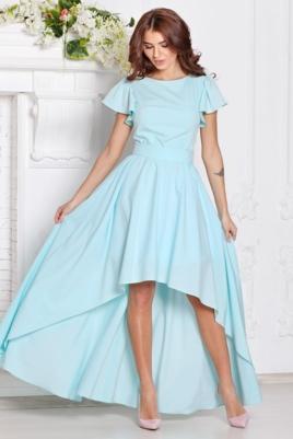 Вечернее платье ментолового цвета с асимметричной юбкой и короткими рукавами купить в интернет-магазине