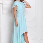 Вечернее платье ментолового цвета с асимметричной юбкой и короткими рукавами sz00050mn-3