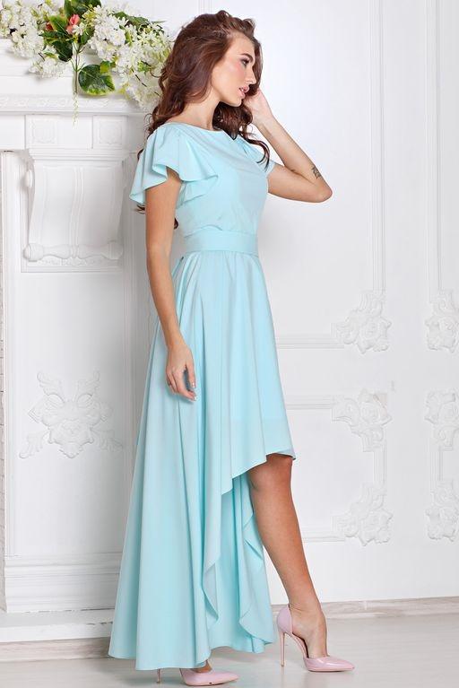 Заказать Вечернее платье ментолового цвета с асимметричной юбкой и короткими рукавами с бесплатной доставкой по России