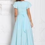 Вечернее платье ментолового цвета с асимметричной юбкой и короткими рукавами sz00050mn-4