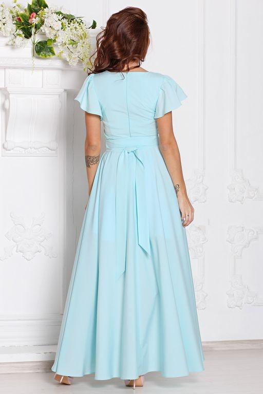 Купить Вечернее платье ментолового цвета с асимметричной юбкой и короткими рукавами в магазине женской одежды в Воронеже