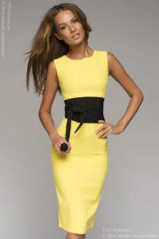 b343375540e ... Желтое платье-футляр без рукавов с черным поясом купить в Воронеже