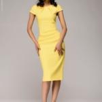 Желтое платье-футляр с короткими рукавами dm00204yl-4