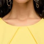 Желтое платье-футляр с короткими рукавами dm00204yl-6