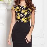 Черное платье-футляр с кружевным верхом и короткими рукавами sz00039bk-1