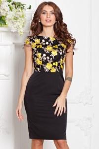 Черное платье-футляр с кружевным верхом и короткими рукавами купить в Воронеже
