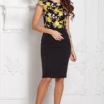Черное платье-футляр с кружевным верхом и короткими рукавами sz00039bk-2