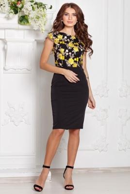 Черное платье-футляр с кружевным верхом и короткими рукавами купить вв интернет-магазине