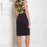Черное платье-футляр с кружевным верхом и короткими рукавами sz00039bk-3