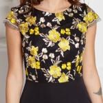 Черное платье-футляр с кружевным верхом и короткими рукавами sz00039bk-4