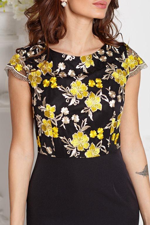 Купить Черное платье-футляр с кружевным верхом и короткими рукавами в магазине женской одежды в Воронеже