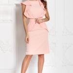 Платье-футляр персикового цвета с воланами и поясом без рукавов sz00152ph-2