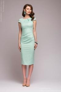 Платье-футляр мятного цвета в горошек купить в интернет-магазине