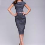 Платье-футляр темно-синего цвета с принтом «ромб» dm00380db-2