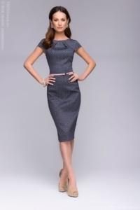 """Платье-футляр темно-синего цвета с принтом """"ромб"""" купить в интернет-магазине"""