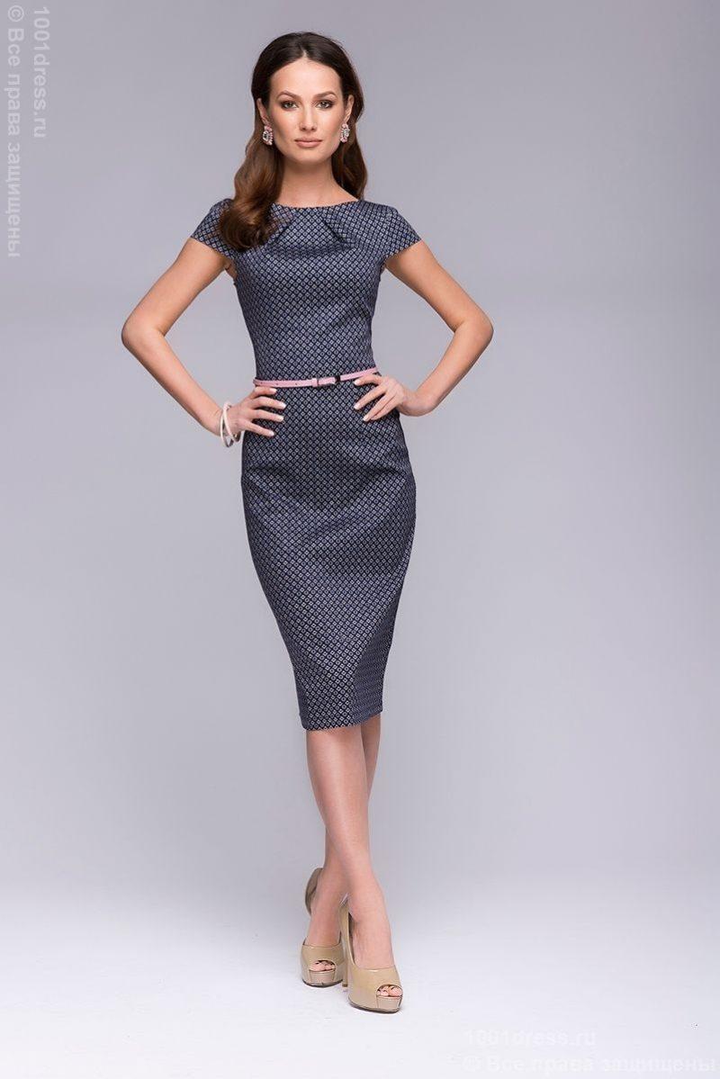 """Платье-футляр темно-синего цвета с принтом """"ромб"""" dm00380db-2"""
