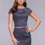 Платье-футляр темно-синего цвета с принтом «ромб» dm00380db-3