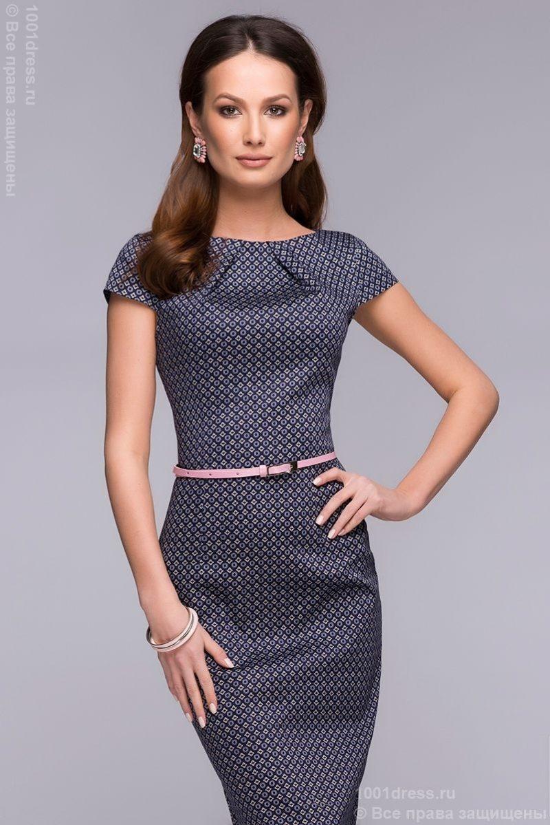 """Платье-футляр темно-синего цвета с принтом """"ромб"""" dm00380db-3"""