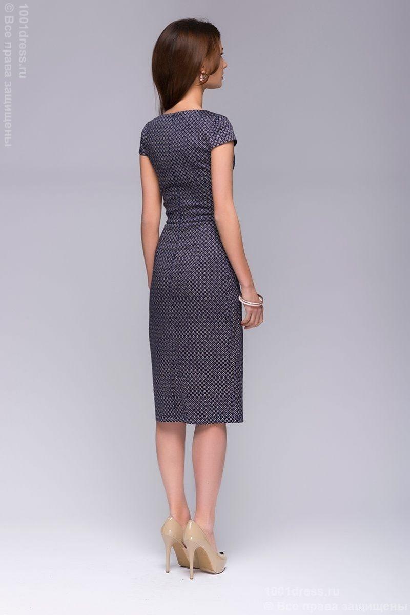 """Платье-футляр темно-синего цвета с принтом """"ромб"""" dm00380db-4"""