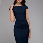 Синее платье-футляр с короткими рукавами dm00204bl-3