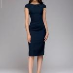Синее платье-футляр с короткими рукавами dm00204bl-4