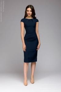 Заказать Синее платье-футляр с короткими рукавами с бесплатной доставкой по России