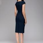 Синее платье-футляр с короткими рукавами dm00204bl-5