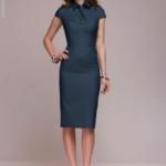 Синее платье в клетку с имитацией галстука и короткими рукавами dm00787bl-2