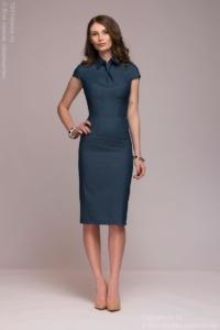 Синее платье в клетку с имитацией галстука и короткими рукавами купить в интернет-магазине