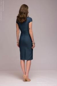 Заказать Синее платье в клетку с имитацией галстука и короткими рукавами с бесплатной доставкой по России