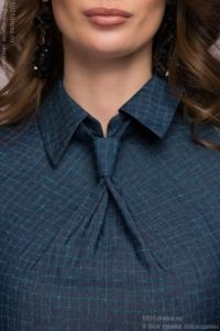 Купить Синее платье в клетку с имитацией галстука и короткими рукавами в магазине женской одежды в Воронеже