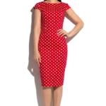 Красное платье-футляр из хлопка в белый горошек с вырезом на спине ds00180rd-1