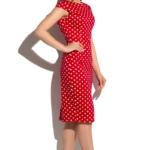 Красное платье-футляр из хлопка в белый горошек с вырезом на спине ds00180rd-2
