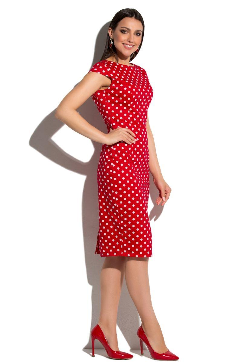 Красное платье-футляр из хлопка в белый горошек с вырезом на спине купить в интернет-магазине
