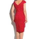 Красное платье-футляр из хлопка в белый горошек с вырезом на спине ds00180rd-3