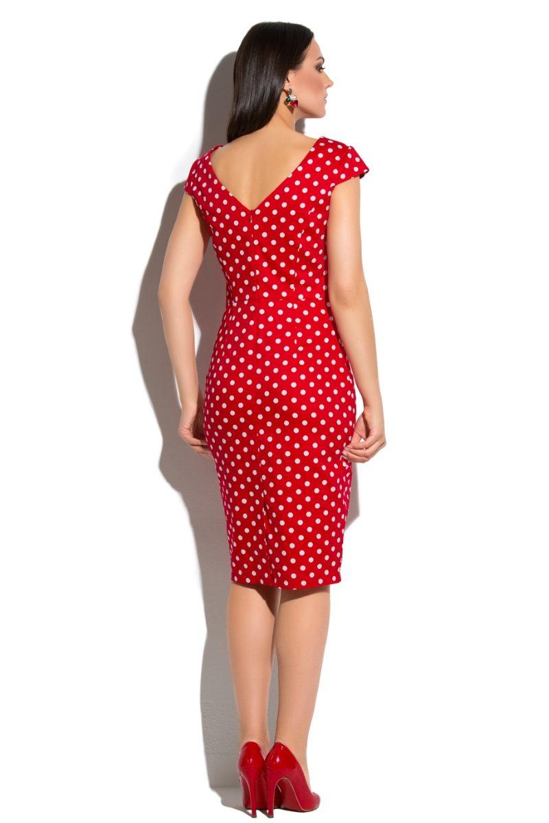 Заказать Красное платье-футляр из хлопка в белый горошек с вырезом на спине с бесплатной доставкой по России