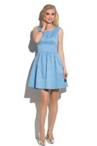 Короткое голубое платье из жаккарда без рукавов с пышной юбкой купить в интернет-магазине