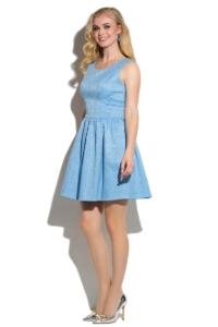 Заказать Короткое голубое платье из жаккарда без рукавов с пышной юбкой с бесплатной доставкой по России