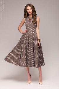 Платье цвета мокко в горошек длины миди в стиле ретро купить в Воронеже