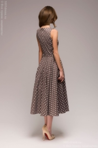 Заказать Платье цвета мокко в горошек длины миди в стиле ретро с бесплатной доставкой по России