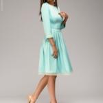 Платье длины мини мятного цвета с кружевной отделкой и рукавами 3/4 dm00220mn-2