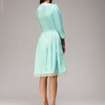 Платье длины мини мятного цвета с кружевной отделкой и рукавами 3/4 dm00220mn-3