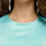Платье длины мини мятного цвета с кружевной отделкой и рукавами 3/4 dm00220mn-4