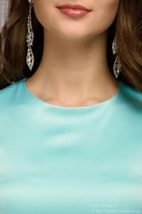 Купить Платье длины мини мятного цвета с кружевной отделкой и рукавами 3/4 в магазине женской одежды в Воронеже