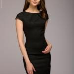 Платье-футляр черного цвета из жаккарда dm00380bk-1